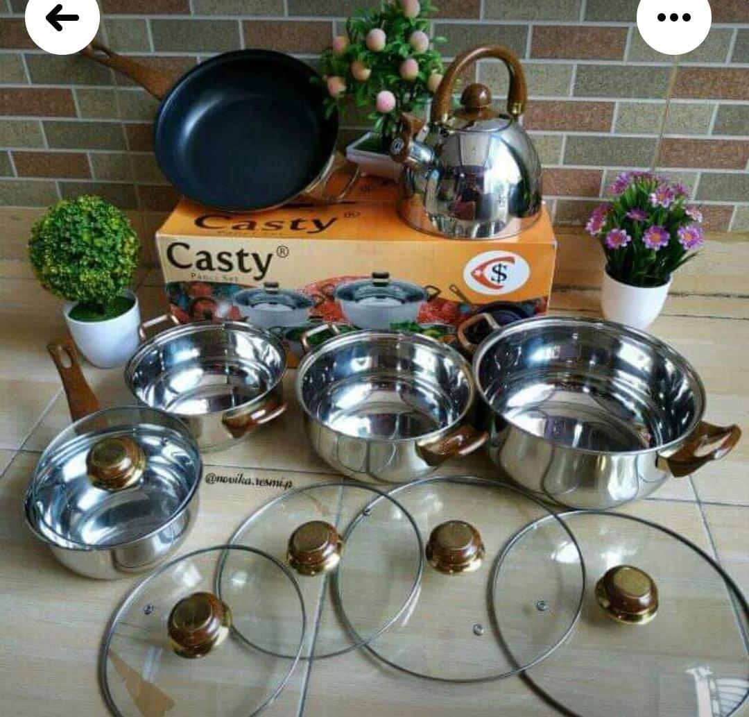 Panci Set Serbaguna Casty 12 Pcs / Gagang Kayu / High