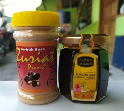 Serbuk Buah Zuriat 100gr plus Madu Alshifa 125 gram (promil)